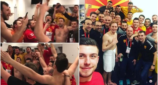 Македонијо ти си бисер балкански   Ракометарите славеа по натпреварот со Германија  фото видео