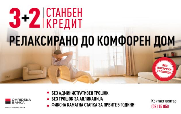 """Дополнителна промоција на станбениот кредит """"3+2"""" и на кеш кредитот """"Лесен кеш кредит"""" на Охридска банка Сосиете Женерал"""