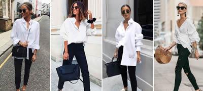 Модерна комбинација со која не може да погрешите: Црни панталони + бела кошула (фото)