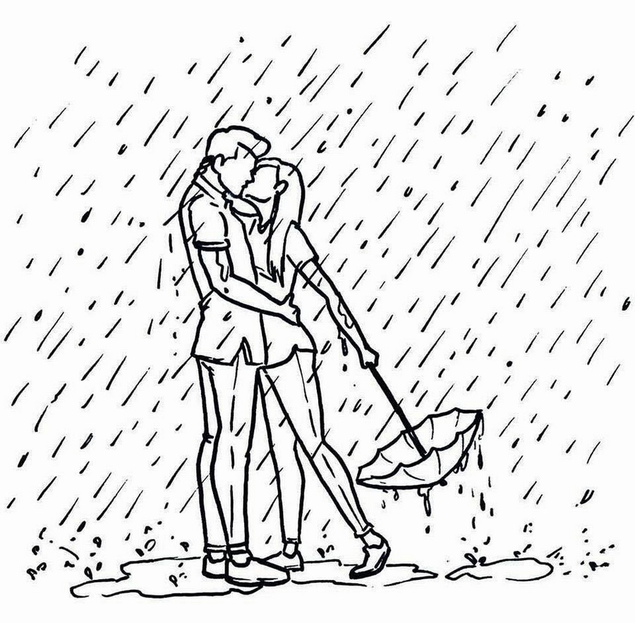 Картинки пара под дождем карандашом
