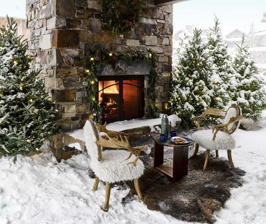 фотосессия зимой во дворе загородного дома украшения аксессуары для